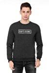 Days Gone Logo Baskılı Füme Antrasit Erkek Örme Sweatshirt Uzun Kol