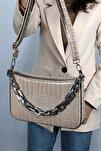 Kadın Krem Kroko Baget Zincir Askılı Omuz Çantası