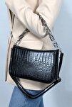 Kadın Siyah Kroko  Baget Zincir Askılı Omuz Çantası