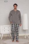 Gri Pamuk Penye Ekoseli Pazen Poplin Dokuma 4 Mevsim Penye Erkek Pijama Takımı