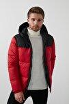 Erkek Kırmızı Kapüşonlu Şişme Mont 12173867