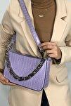 Kadın Lila Kroko Baget Zincir Askılı Omuz Çantası