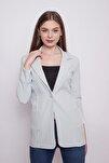 Yakalı Cepli Uzun Kol Katlamalı Blazer Kumaş Ceket- Mint