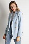 Kadın Mavi Düğmeli Blazer Ceket