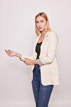 Yakalı Cepli Uzun Kol Katlamalı Blazer Kumaş Ceket-bej