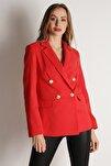 Kadın Nar Çiçeği Düğmeli Blazer Ceket