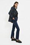 Koyu Mavi Yırtmaçlı Yüksek Bel Slim Flare Jeans TWOAW22JE0382