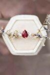 Mistik Topaz Ruby Taşlı Ayarlanabilir 14 K Rose Altın Kaplama Kadın Yüzük