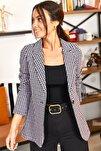 Kadın Lila Kazayağı Desen Tek Düğmeli Ceket ARM-20K001121