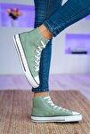 Yeşil Bilekli Kadın Spor Ayakkabı Keten
