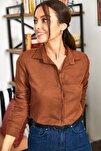 Kadın Kahve Uzun Kollu Düz Gömlek ARM-18Y001176