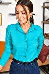 Kadın Turkuaz Uzun Kollu Düz Gömlek ARM-18Y001176