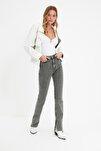 Gri Yırtmaçlı Yüksek Bel Slim Flare Jeans TWOAW22JE0382