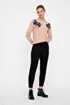 Kadın Siyah Beli Lastikli Bilekte Süet Pantolon 10204640 VMEVA
