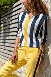 Kadın Siyah-Sarı Yakası Yırtmaçlı Çizgili Krep Bluz GK-BST2841