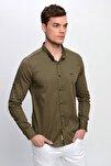 Erkek Haki Hakim Yaka Çıtçıtlı Slim Fit Likralı Gömlek