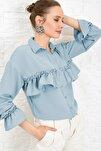 Kadın Mavi Volan Detaylı Aerobın Dokuma Gömlek ALC-X4013