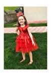 Kız Çocuk Kırmızı doğum Günü, Tüllü Abiye Elbise