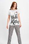 Kadın Lisanslı Krem Pijama Takımı