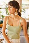 Kadın Su Yeşili Fırfırlı Yazlık Bel Üstü Triko Bluz BLZ-19000882