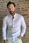 Beyaz Erkek Yarım Patlı Düğmeli  Gömlek TMNSS20GO0113