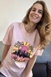 Pudra Baskılı Boyfriend Örme T-Shirt TWOSS20TS0491