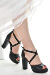 Cilt Abiye 11 Cm Platform Topuk Kadın Sandalet Ayakkabı 3210-2058