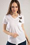 Kadın Beyaz V Yaka Kelebek Detaylı Duble Kol Tişört Y20S134-1138