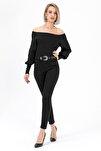 Kadın Siyah Gabardin Dar Paca Pantolon Y20036_PNT_891D_T_D1