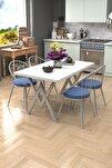 Eylül Silver 4 Kişilik Mutfak Masası Takımı Beyaz Mavi