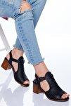 Kadın Hakiki Deri Topuklu Sandalet 5 cm