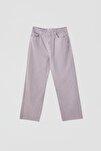 Kadın Leylak Crop Straight Fit Jean 05670330
