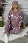Mor Hello Winter Desenli Kadın Peluş Pijama Takımı