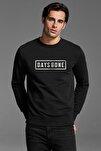 Days Gone Logo Baskılı Siyah Erkek Örme Sweatshirt Uzun Kol