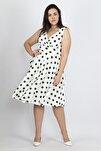 Kadın Kemik Puan Desenli Anvelop Arka Bel Lastik Detaylı Elbise 65N19620