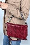Kadın Kırmızı Kroko  Baget Zincir Askılı Omuz Çantası