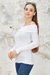 Kadın Beyaz Madonna Yaka Triko Kazak