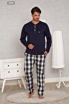 Indigo Pamuk Penye Ekoseli Pazen Poplin Dokuma 4 Mevsim Penye Erkek Pijama Takımı