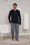 Lacivert Pamuk Penye Ekoseli Pazen Poplin Dokuma 4 Mevsim Penye Erkek Pijama Takımı