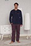 Bordo Pamuk Penye Ekoseli Pazen Poplin Dokuma 4 Mevsim Penye Erkek Pijama Takımı