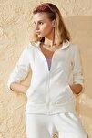Kadın Beyaz Fermuarlı Kapüşonlu Sweatshirt Hırka