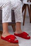 Kadın Kırmızı Çapraz Ev Terliği
