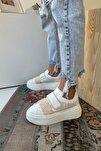 Kadın Cırt Cırtlı Beyaz Bej Hasır Bant Sneaker Yüksek Tabanlı-5 Cm-spor Ayakkabı