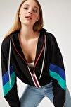 Kadın Siyah Fermuarlı Kapüşonlu Polar Sweatshirt OX00006