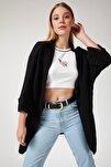 Kadın Siyah Oversize Uzun Cepli Triko Hırka AS00003