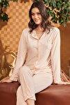 Kadın Pembe Mikaela Önden Düğmeli Pijama Takımı