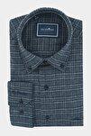 Erkek Antrasit Klasik Kesim Düğmeli Yaka Kışlık Oduncu Gömleği