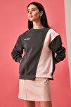 Antrasit Ön ve Sırt Baskılı Basic Örme Sweatshirt TWOAW21SW0150