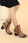 Kadın Vizon Süet Günlük 6cm Topuk Bot