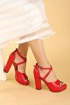 Kadın Kırmızı Platform Topuklu Ayakkabı 11 cm 3210-2058